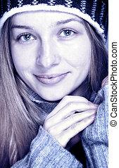winter, porträt, von, schöne , glücklich, junge frau