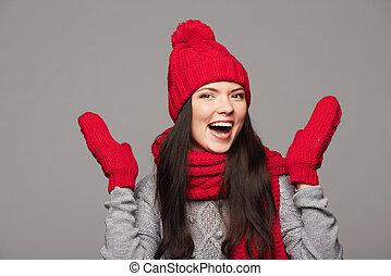 winter, porträt, von, schöne , weibliche