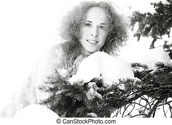 winter., portré, hideg, női, szabadban