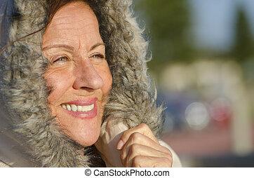 Winter Portrait mature woman - Portrait of attractive...