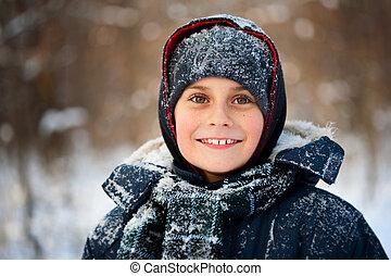 Winter portrait of a cute kid