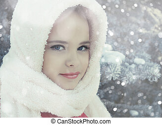 Winter portrait of adorable happy child girl