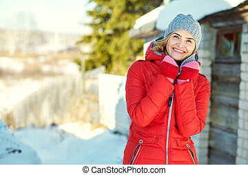 winter portrait of an attractive woman