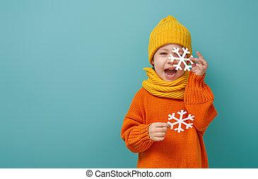 Winter portrait of happy child