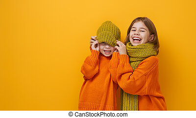 Winter portrait of happy children