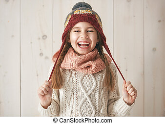 Winter portrait of little girl - Winter portrait of happy...