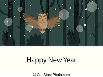 Winter postcard with owl in flat style