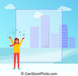 Winter Poster and Happy Woman Vector Illustration