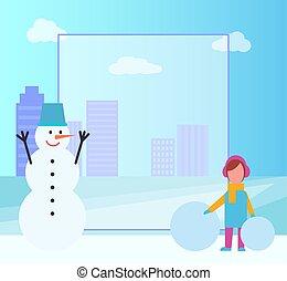 Winter Poster Filling Form on Vector Illustration