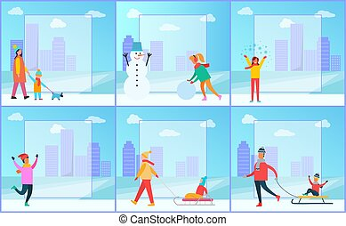 Winter Posters Collection Vector Illustration