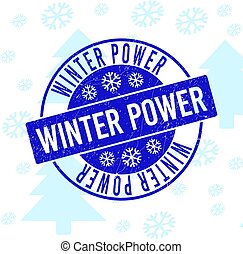 Winter Power Scratched Round Stamp Seal for Xmas