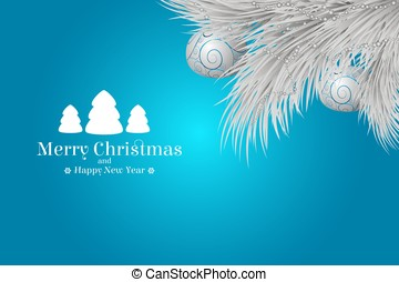 Winter present card. Merry Christmas and Happy New Year.