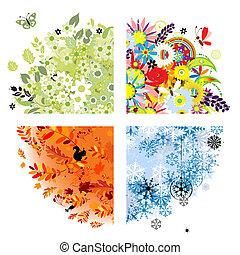 winter., primavera, otoño, -, cuatro estaciones, verano