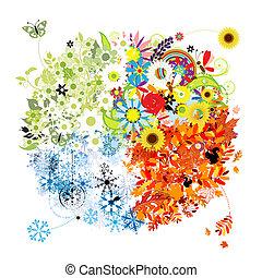 winter., primavera, outono, -, quatro estações, verão