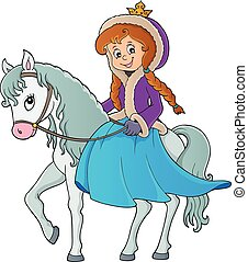 Winter princess riding horse 1