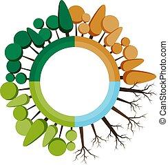 winter., quattro, vettore, primavera, bandiere, albero, autunno, stampa, siti web, stagioni, icon., estate, illustrations.