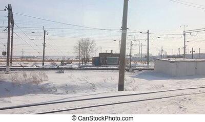 Winter railroad panorama.