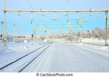 Winter Railroad platform in Kiruna Lapland train station...