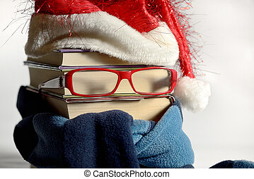 Reading glasses concept with books