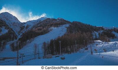 winter., recours, ski, tmelapse, levers de soleil
