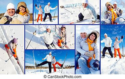 Winter recreation - Collage of mature couple enjoying winter...