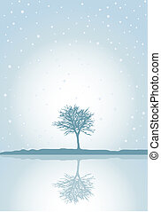 Winter reflections - Winter tree reflected with snow