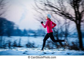 winter, rennender