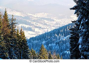 Winter resort view in Bukovel, Ukraine