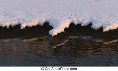 Winter river detail with snow and ice