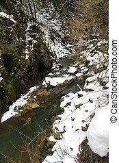 Winter river in Carpathians
