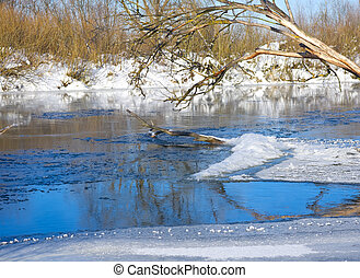 Winter river in frosty day