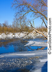 Winter river in frosty sunny day