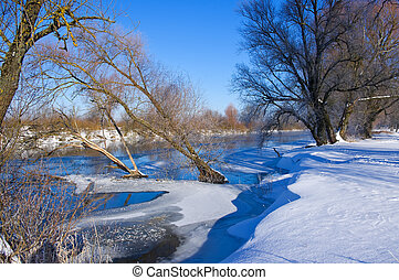 Winter river in sunny day