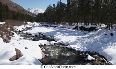 Winter river in the forest