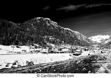 winter river landscape in infrared