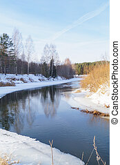 Winter river on a sunny day