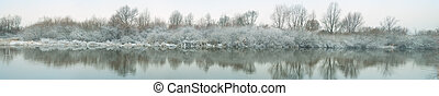 winter river panorama - Winter river and trees in winter ...