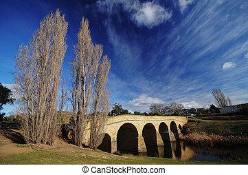 Winter riverside near Richmond bridge in Tasmania Australia