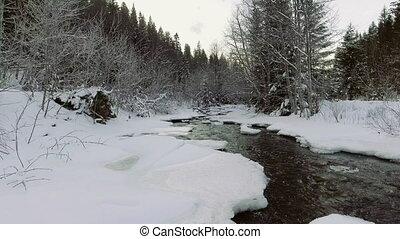 winter., rivière, vol, sur, neige, tomber, aerial: