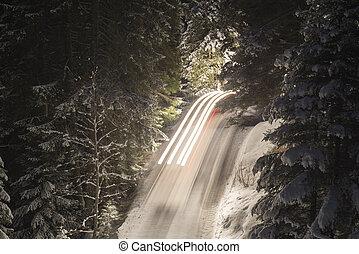 Winter road at night