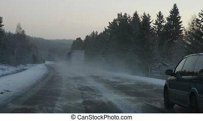 winter road driving POV, steadicam shot