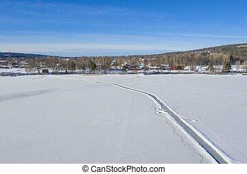 Winter road drone photo