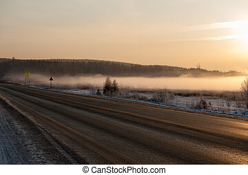 Winter Road in Early Morning