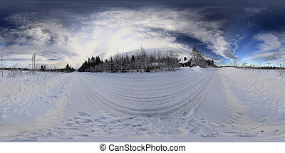 Winter road in front of remote house in Swedish Lapland. Equirectangular projection is used.