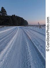 Winter road in snow