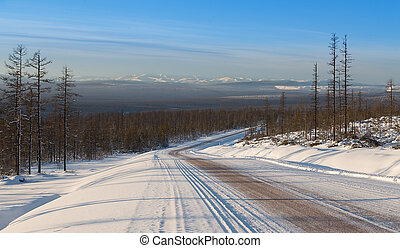 mountain landscape and the road winter in South Yakutia