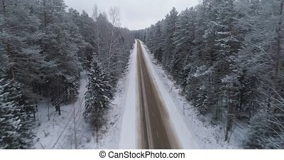 Winter road in the forest. - Winter landscape,road and snow...