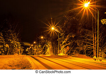 Winter road in the forest with lanterns, natural background