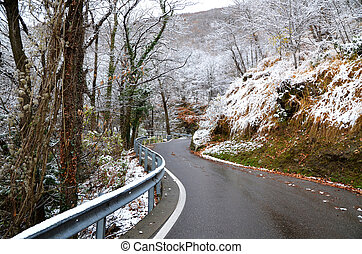 Winter road in the mountain