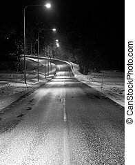 Winter road - Empty winter road at night